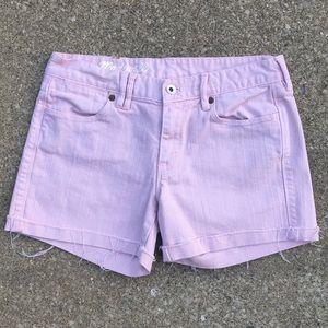 Madewell Pink Denim Frayed Edge Shorts